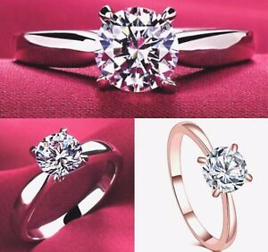 New-Cubic-Zirconia-Rose-Gold-or-Silver-Plated-Womens-Engagement-Ring-Sizes-K-U
