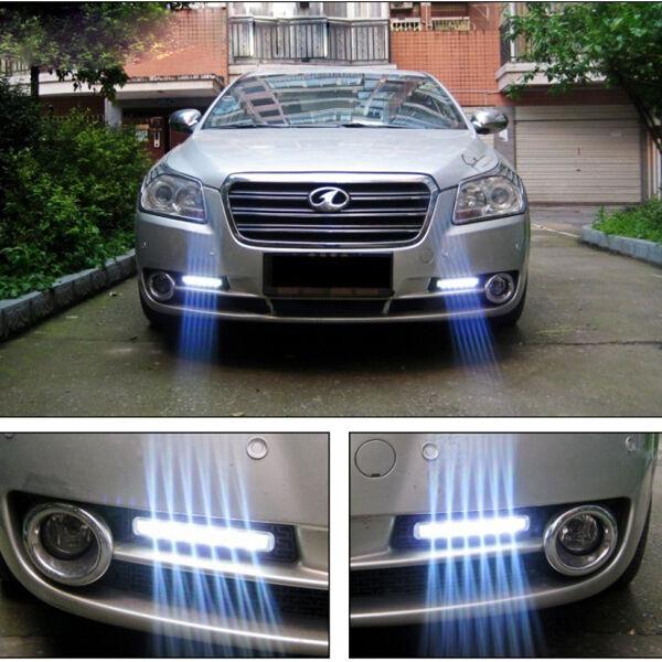 2x 12V DC Car Daytime Running Light 8 LED DRL Head Lamp Daylight Super White