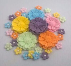 30-MULTI-PASTEL-FLOWERS-edible-sugar-flowers-cake-decorations-toppers-wedding