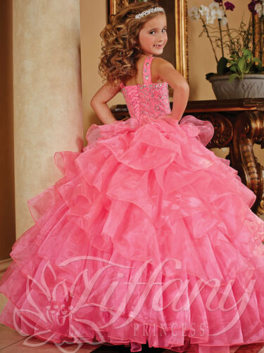 Pink Flower Girl Dress Beading Girl Pageant Party Prom Ball Gown Size 6 8 10 12