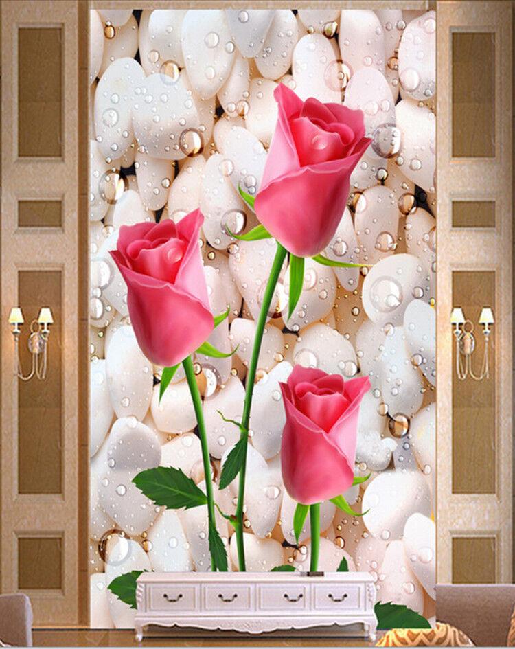 3D whitee Steine pink pink 83 Tapete Wandgemälde Tapete Tapeten Bild Familie DE