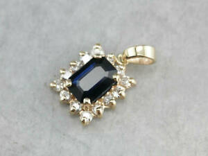 14K-Yellow-Gold-Over-1-50-Carat-Blue-Sapphire-amp-Diamond-Halo-Pendant