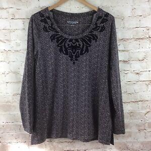 Soft-Surroundings-Women-039-s-Brown-Herringbone-Top-w-Velvet-Detailing-Size-Large