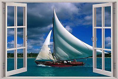 Huge 3D Window Sail Boat ocean View Wall Stickers Film Mural Art Decal Wallpaper