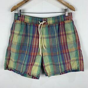 Ben-Sherman-Shorts-Mens-Medium-Multicoloured-Plaid-Elastic-Waist-Drawstring