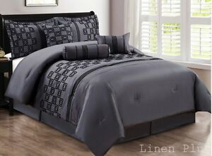 10-Piece-Gray-Black-Flocked-Comforter-Set-King-Size
