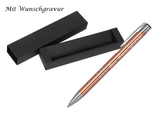 Kugelschreiber aus Metall mit Gravur Farbe roségold mit Pappetui