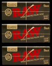 Raw Black (3) Natural Unrefined Rolling Papers 1 1/4 Classic - 150 Papers