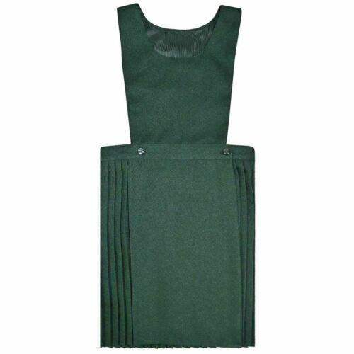 Children Girls All Sizes Black Green Navy Grey Pleated Pinafore Uniform Dress