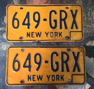 Vintage License Plate Set NEW YORK NY 1970s Orange 649-GRX