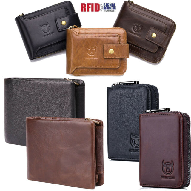 Bifold Genuine Cow Leather Black Color Zip-Around Wallet 9 Card Pockets
