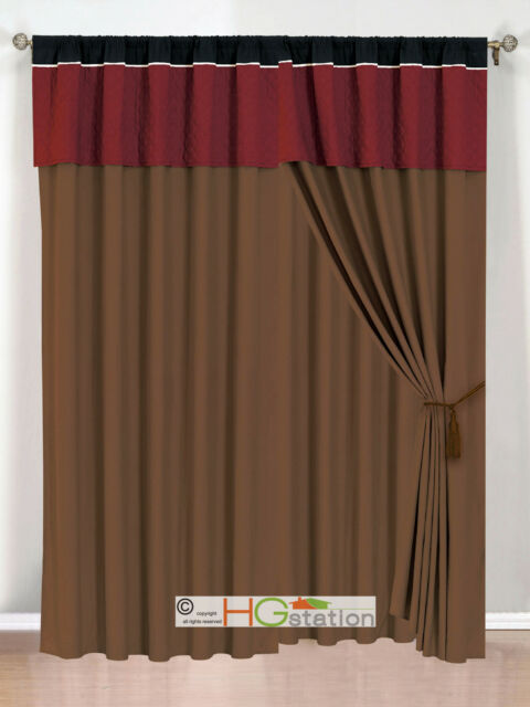 4Pc Periwrinkle Floral Embroidery Curtain Set Lilac Burgundy Valance Drape Liner