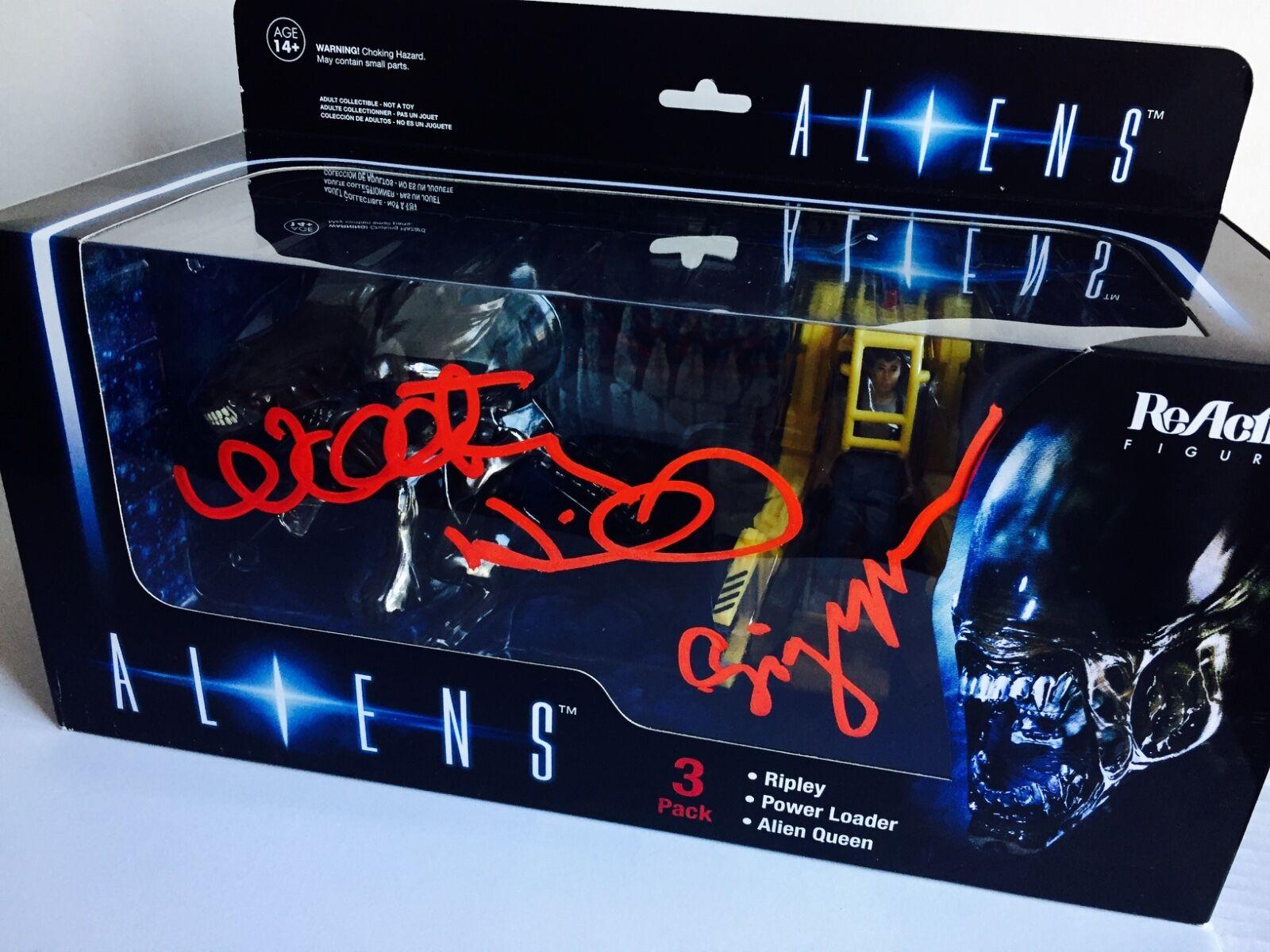 Sigourney Weaver Walter Hill firmado autógrafo Aliens Alien Figura Set cert. de autenticidad Raro