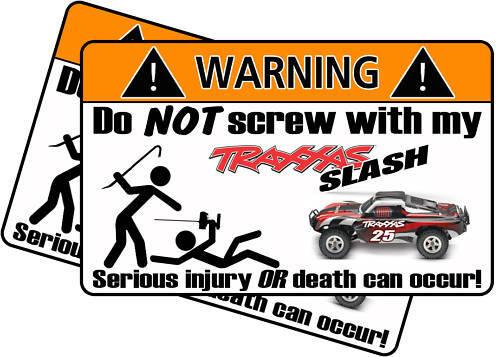 Traxxas Slash RED warning sticker RC Race Truck Graphic