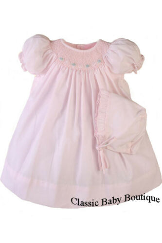NWT Petit Ami Pink Bishop Smocked Baby Girls Dress Daygown Bonnet Newborn