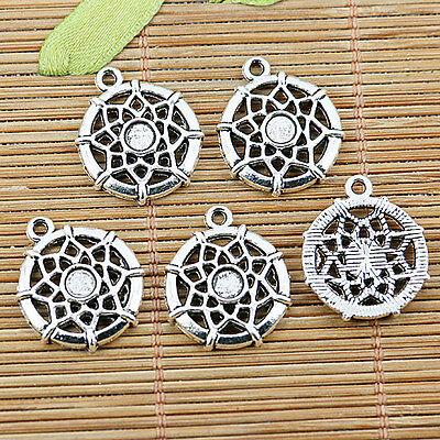 10pcs tibetan silver round flower charm pendants EF1314