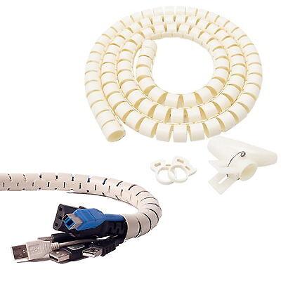 1.5cm Dia (Beige) Flexible Cord Cable Wire Organizer Wraps Management Hiding TIE