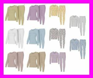 WOMEN'S Thermal TOP & BOTTOM SET Waffle Knit Long Johns Warm Underwear PJ'S 2pcs