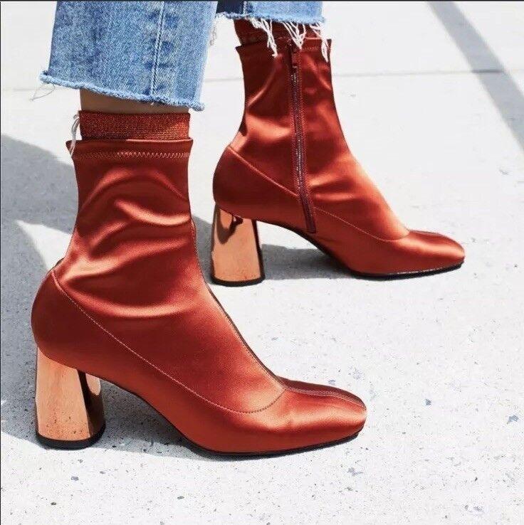 Free People Spectrum Sock avvio Dimensione 7 Woman NWT New  198 arancia Metalic Heels