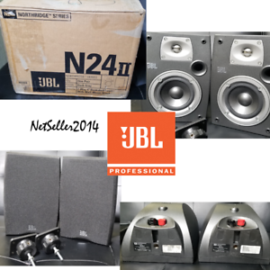 PAIR-JBL-Northridge-Series-N24-II-Bookshelf-Speakers-Titanium-8-Ohms-W-Mounts