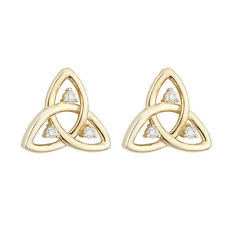 9k 9ct Yellow Gold Celtic Irish Trinity Knot Stud Earrings s33543 by Solvar