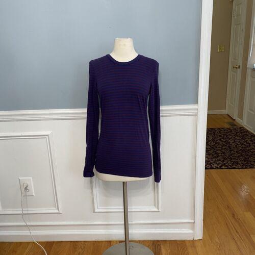 Theory Long Sleeve Stripe Cotton Tee Shirt