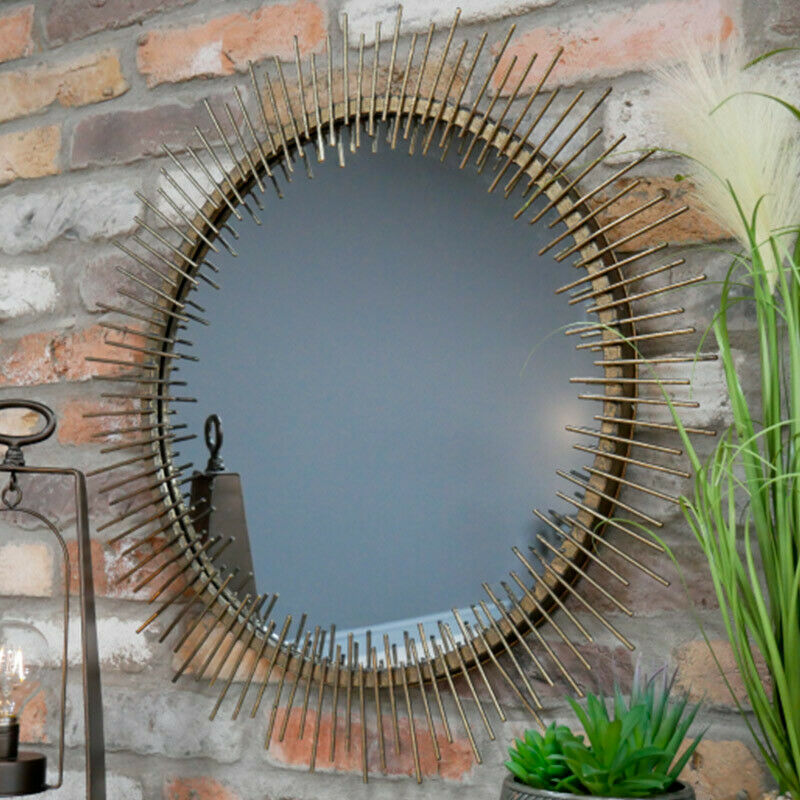 Round Gold Wire Mirror Medium Art Deco Wall Art Decor Home Luxurious Glamorous For Sale Ebay