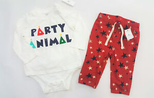 NWT-Boys-Baby-Gap-0-3-or-6-12-Months-Party-Animal-Bodysuit-Top-amp-Red-Star-Pants