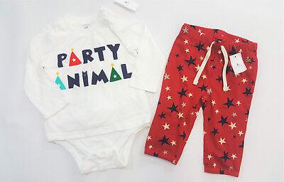 GAP Baby Boy Long Sleeve Top Soft Pants Stars Navy Multi Cotton 12-18 18-24