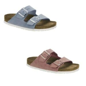 453761f71051ad Birkenstock Arizona Suede Leather SFB Rose Light Blue Slides Sandals ...
