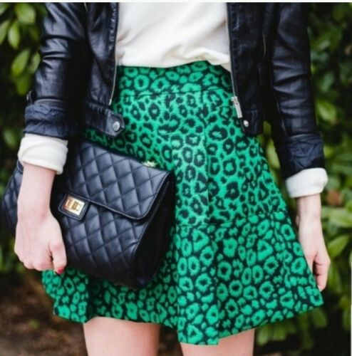 Banana Republic Green Leopard Cheatah Print Pleate