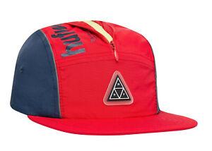 Huf Worldwide Skatebard Cap Camp Dad 5 Panel Volley Hat Conceal Pocket Red