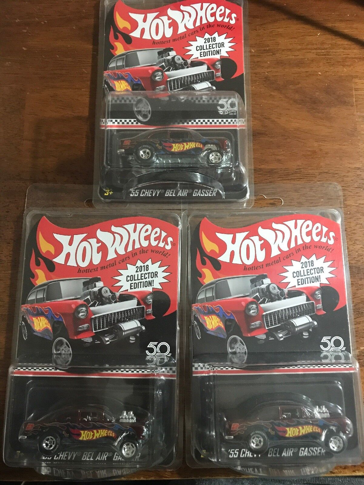 3x   2018 HOT WHEELS KDAY MAIL IN '55 CHEVY BEL AIR GASSER COLLECTIORS LOT
