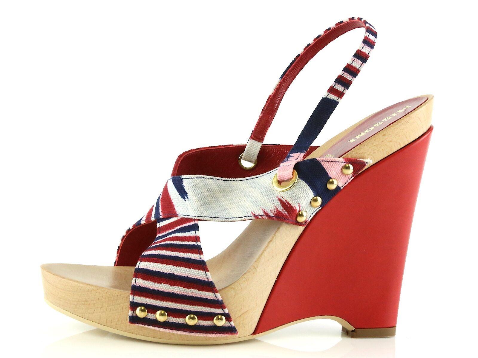 MISSONI OLONA Red Striped Wedge Heels 8967 Size 40 EU   495 New