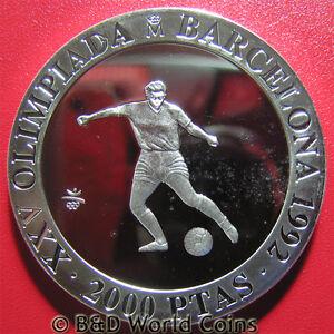 1990-SPAIN-2000-PESETAS-SILVER-PROOF-SOCCER-1992-BARCELONA-OLYMPICS-REEDED-EDGE