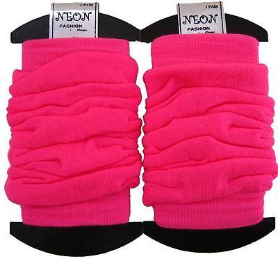 Ladies Retro UV Neon Plain/ Neon Stripe Crinkled Look Leg Warmers