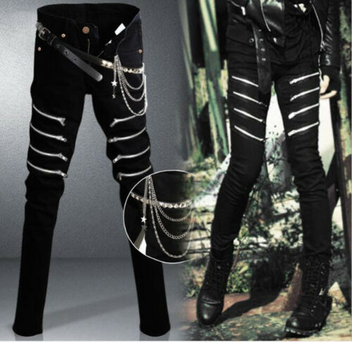 Denim Pants Men's Long Slim Chain Gothic Straight Black Trousers Zipper Punk dgqwU
