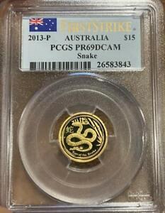 2013 P $15 Gold Lunar Snake 1/10 Oz Proof PCGS PR 69 DCAM
