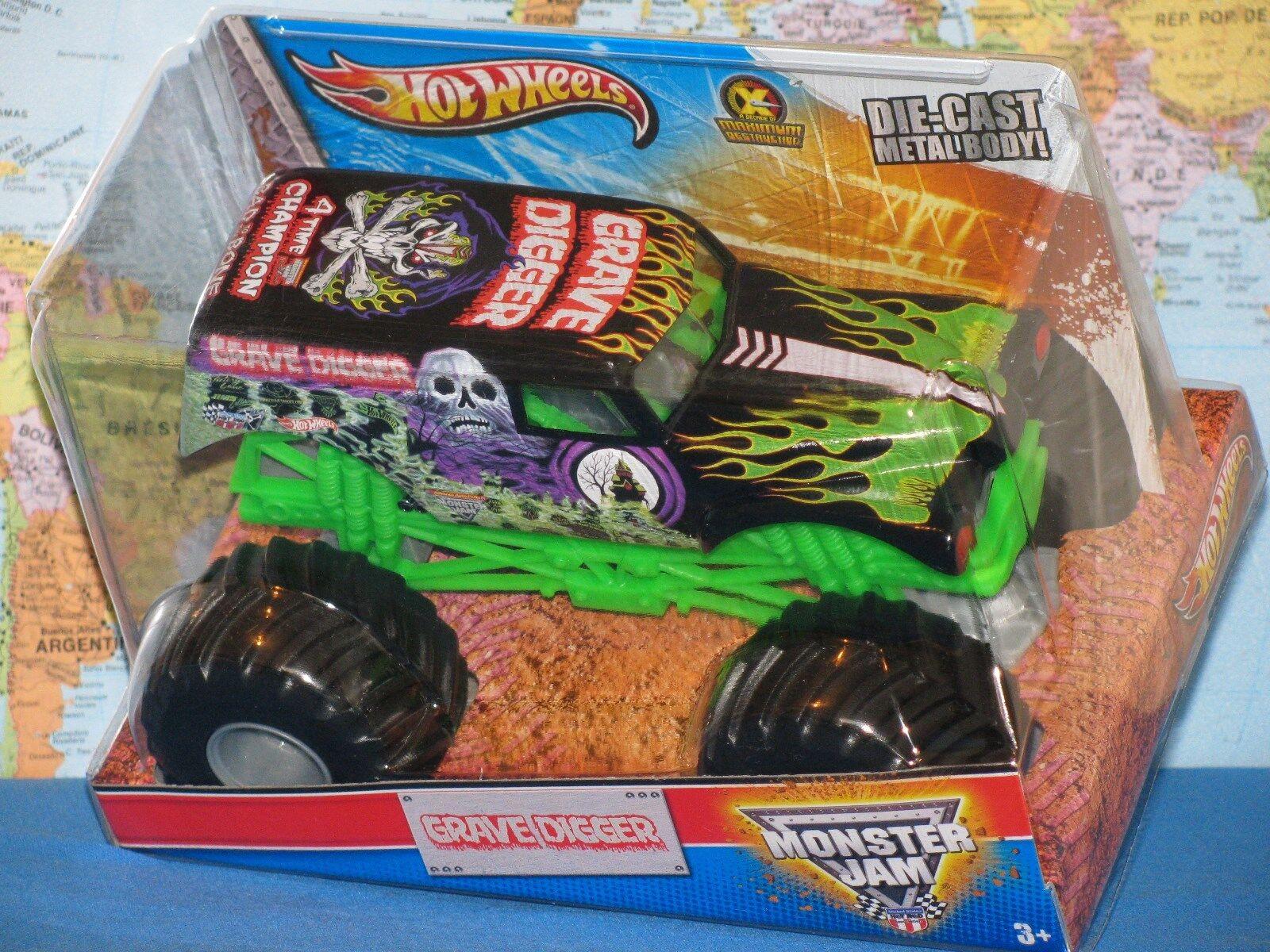 1 24 Hot Wheels Confiture de Monstre Grave Digger Camion Max-D Moulé