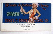 1930s Advertising Blotter for Hazel Brook Coal  w/ Majorette Bennington , VT