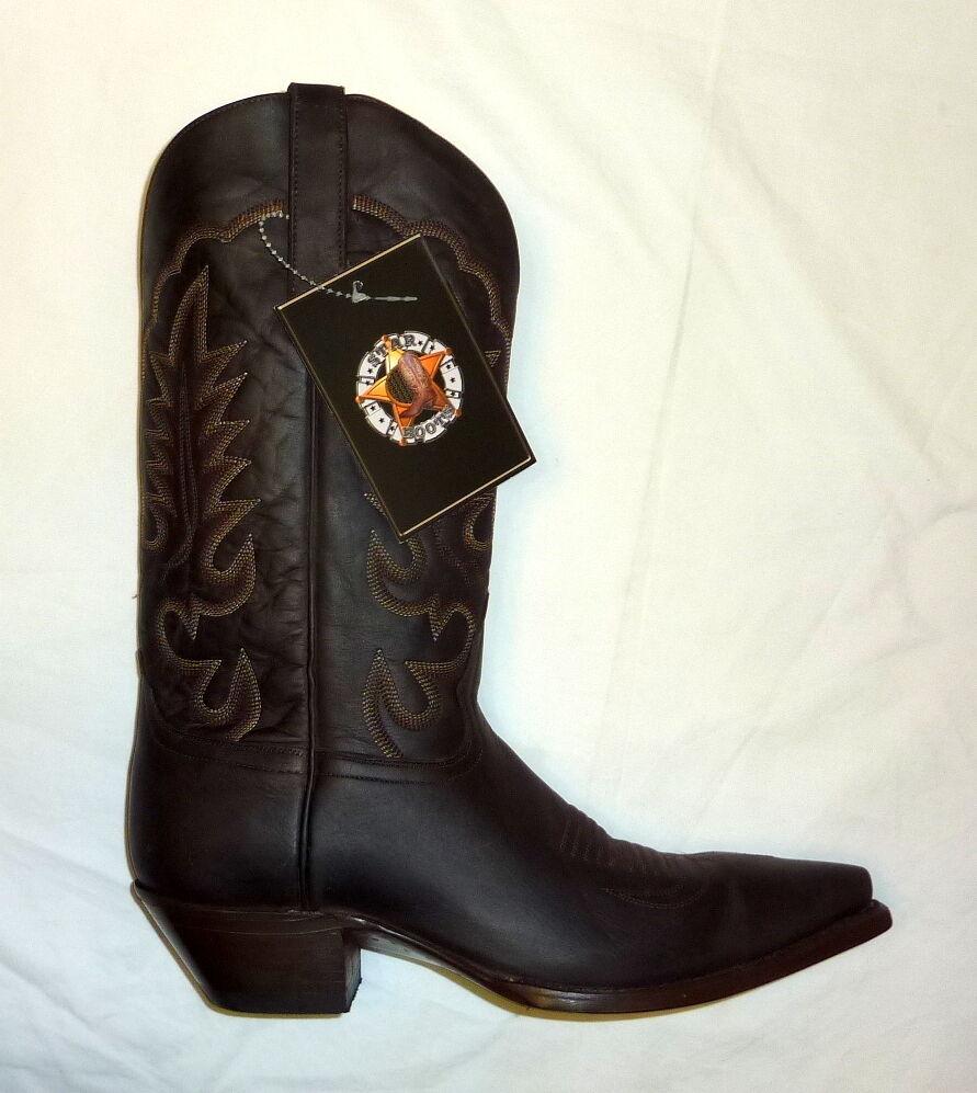 Star Boots Men's Size 9 D Medium Crazy Horse Cowboy Boot BROWN M7010 Mens NEW