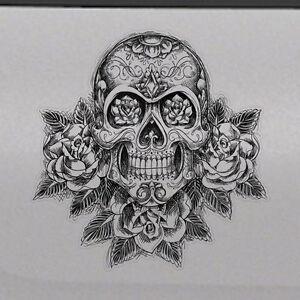 sugar skull rose graphic tailgate hood window decal vehicle truck