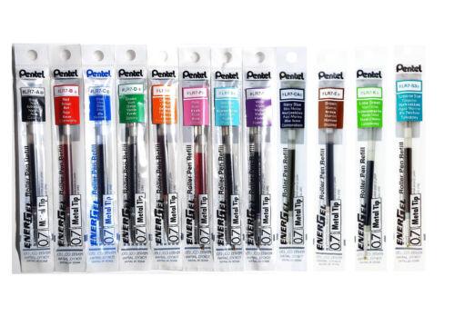 12pcs Pentel EnerGel LR7 Assorted Colors 0.7mm Metal Tip Gel Pen Refills