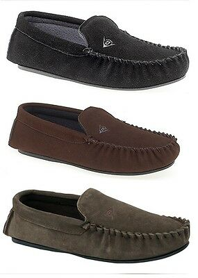 Mens Dunlop LUKE Moccasin Slipper Fleecy Lining  Leather Upper Indoor Slipper
