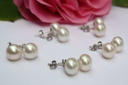Weiß 8mm 5Paar Süßwasser Zucht Perlen Schmuck Set Ohrringe Ohrstecker 925 Silber
