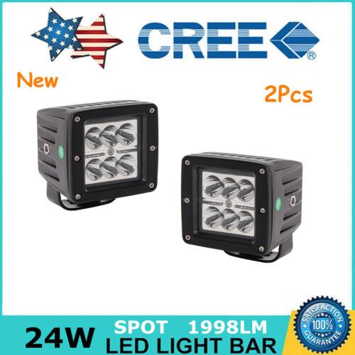 2X 24W 3inch Pods Spot LED Work Light Offroad JEEP Ford Bumper UTV SUV Cube 4WD