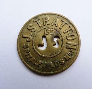 """""""J STRATTON LTD"""" SPITALFIELDS MARKET, 3 SHILLINGS BRASS TOKEN"""