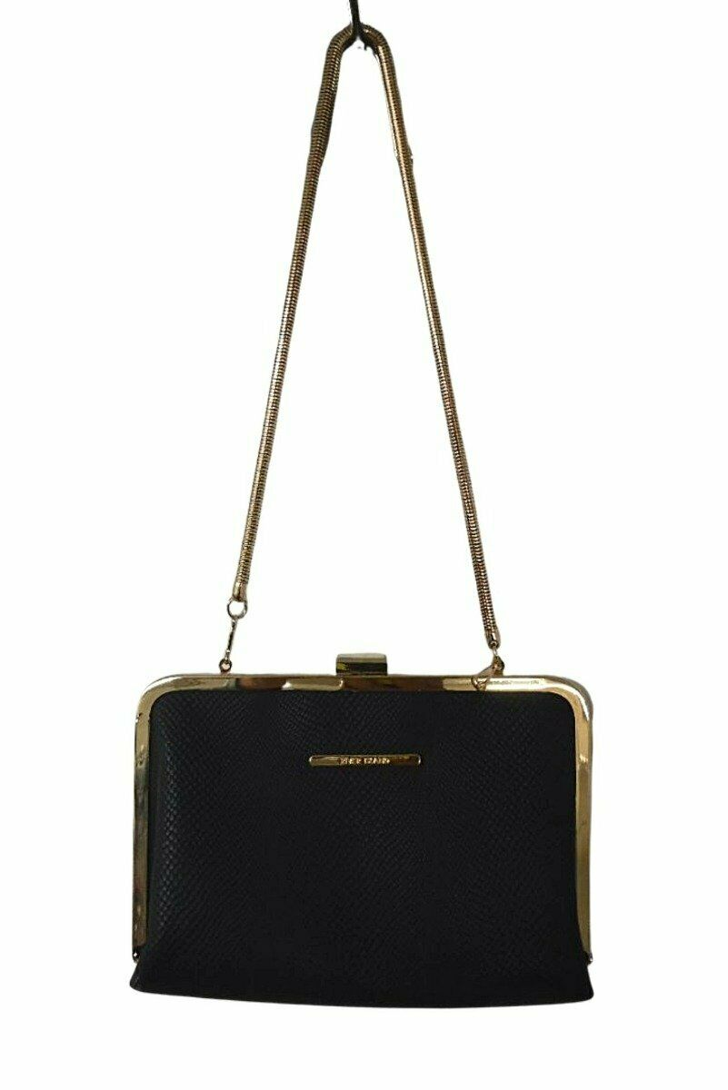 River Island Black Bag with Gold Trim - One Size
