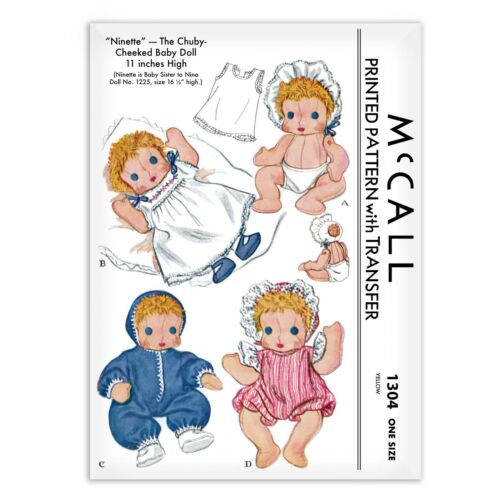 Baby Doll Ninette is Nina/'s Sister Sewing Pattern Rag Cloth McCALL s 1304
