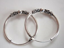 Small Bali Hoop Earrings 925 Sterling Silver with 5 Decorative Accents 17 mm